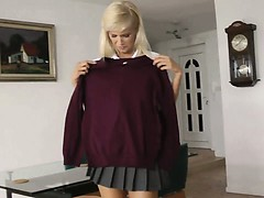 Blonde schoolgirl strips...